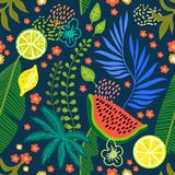 Tropical fruit garden. Seamless botanical pattern with exotic flowers, lemons and tropical leaves inspired by 1950s-1960s design. Retro textile collection. On vector illustration