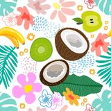 Exotic tropical garden. Seamless botanical pattern with flowers, fruits and different plants inspired by 1950s-1960s design. Retro textile collection stock illustration