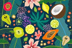 Exotic tropical garden. Wide print. Seamless botanical pattern with flowers, fruits and different plants inspired by 1950s-1960s design. Retro textile stock illustration