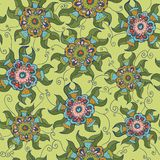 Seamless botanical pattern with geometric colorful flower Royalty Free Stock Photography