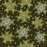 Seamless botanical pattern with geometric colorful flowers Royalty Free Stock Photos