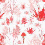Seamless Botanical Pattern. A seamless pattern of red and pink trees fronds grass and towers on white background Royalty Free Stock Photography