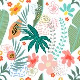 Exotic garden blossom. Seamless botanical pattern with tropical flowers and fruits inspired by 1950s-1960s design. Retro textile collection. On white background stock illustration