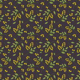 Seamless botanical pattern yellow seaberries green twigs leaves allover print on dark purple background, fabric, tapestry, wallpap Stock Photos