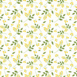 Seamless botanical pattern yellow seaberries green twigs leaves allover print on white background, fabric, tapestry, wallpaper, gi Royalty Free Stock Photos