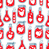 Seamless bottles with hearts. Beautiful seamless background of containers with different hearts Royalty Free Stock Photos
