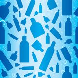 Seamless bottles pattern. Seamless blue pattern with flying cosmetic bottles and bubbles royalty free illustration