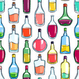 Seamless bottles of various alcohol Royalty Free Stock Images
