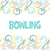 Seamless bowling pattern with skittles and bowling ba Stock Image