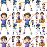 Seamless boy doing different activities Stock Images