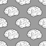 Seamless Brains on the grey background Stock Photography
