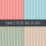 Seamless branch vector patterns. White vertical twigs with leaves on pink blue green beige background. Hand drawn ornament set. Seamless branch vector patterns Royalty Free Stock Photos