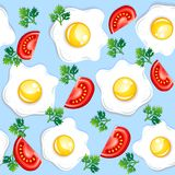 Seamless breakfast pattern. With fried eggs and tomatoes Royalty Free Stock Photos