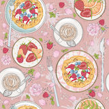 Seamless breakfast pattern with flowers, waffles, fruits. Berries and coffee. Vector background with strawberries, coffee, tangerines and raspberries Stock Image