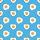 Seamless breakfast pattern with fried eggs, vector. Seamless breakfast pattern with fried eggs on blue background. colorful wallpaper design with cooked egg Stock Images