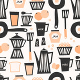 Seamless Breakfast Pattern. Mid-century style seamless repeating pattern with breakfast items in black, pastel orange and cream on taupe background Royalty Free Stock Images
