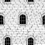 Seamless brick wall with windows, background (drawn in ink). Stock Image