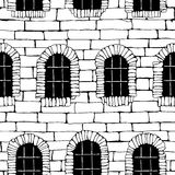 Seamless brick wall with windows, background (drawn with ink). Stock Images