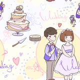 Seamless bridal pattern with the newlyweds and wedding cake.  Stock Photo