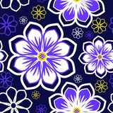 Seamless bright abstract flowers Pattern  on dark blue Background Stock Photos
