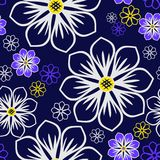Seamless bright abstract Pattern with Flowers on dark blue Background Royalty Free Stock Photography