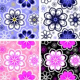Seamless bright abstract Pattern with Flowers in four Variants Stock Images