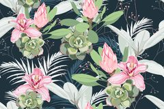Seamless bright artistic tropical pattern with palm leaves, ficus, monstera, pink orchid and protea flower. Modern colorful tropics background or print. Dark vector illustration
