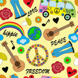 Seamless bright background with accessories hippies. Seamless background with bright accessories, clothing and hippie signs Stock Photo