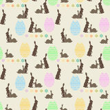 Seamless bright background with Easter bunnies. And eggs silhouettes Stock Image