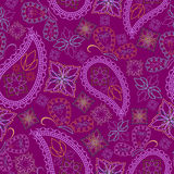 Seamless bright burgundy pattern with butterflies and paisley. Vector print . Royalty Free Stock Images
