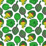 Seamless bright color artichokes Stock Image