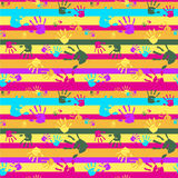 Seamless bright colorful vector background with palms and strips Royalty Free Stock Photos