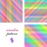 Seamless bright cute pattern of iridescent diagonal and horizontal stripes of equal thickness for girls or children Stock Photo