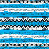 Seamless bright ethnic background in black, blue and white strip. Es. Vector illustration Stock Image