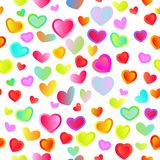 Seamless bright festive background. With multi-colored hearts Stock Photos