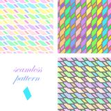 Seamless bright festive pattern of iridescent diagonal and horizontal stripes. Set of seamless bright festive patterns of iridescent diagonal and horizontal Royalty Free Stock Photography