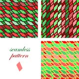 Seamless bright festive pattern of iridescent diagonal and horizontal stripes. Set of seamless red and green  patterns of iridescent diagonal and horizontal Stock Photos