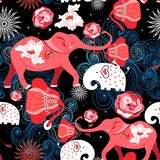 Seamless bright festive pattern of red elephants with roses vector illustration