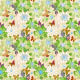 Seamless bright floral kids pattern background. Seamless bright floral kids pattern on beige background Stock Photos