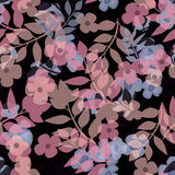 Seamless bright floral pattern on black. Background Royalty Free Stock Images