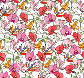 Seamless bright floral pattern with  different exotic tropical flowers. Endless texture Stock Photo