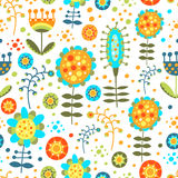 Seamless bright floral pattern on a white backgrou Stock Image