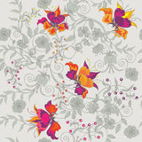 Seamless bright flowers. Decorative seamless gray background with bright flower pattern Royalty Free Stock Photo