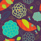 Seamless Bright Flowers and Swirls Pattern Stock Photo