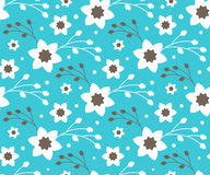 Seamless Bright Fun Abstract Spring Flower Pattern Isolated. On Blue Background Royalty Free Stock Photography