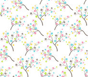 Seamless Bright Fun Abstract Spring Summer Flower Trees Pattern. Isolated on White Background Stock Images