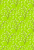 Seamless Bright Fun Abstract Spring Summer Trees Pattern Isolate. D on Green Background Royalty Free Stock Photo