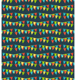 Seamless bright fun celebration festive buntings pattern isolate. Seamless bright fun celebration festive buntings pattern  on blue background Stock Images