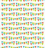 Seamless bright fun celebration festive buntings pattern isolate. D on white background Stock Image