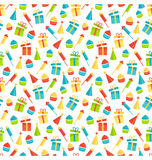Seamless bright fun celebration festive pattern isolated on whit. E background Stock Images